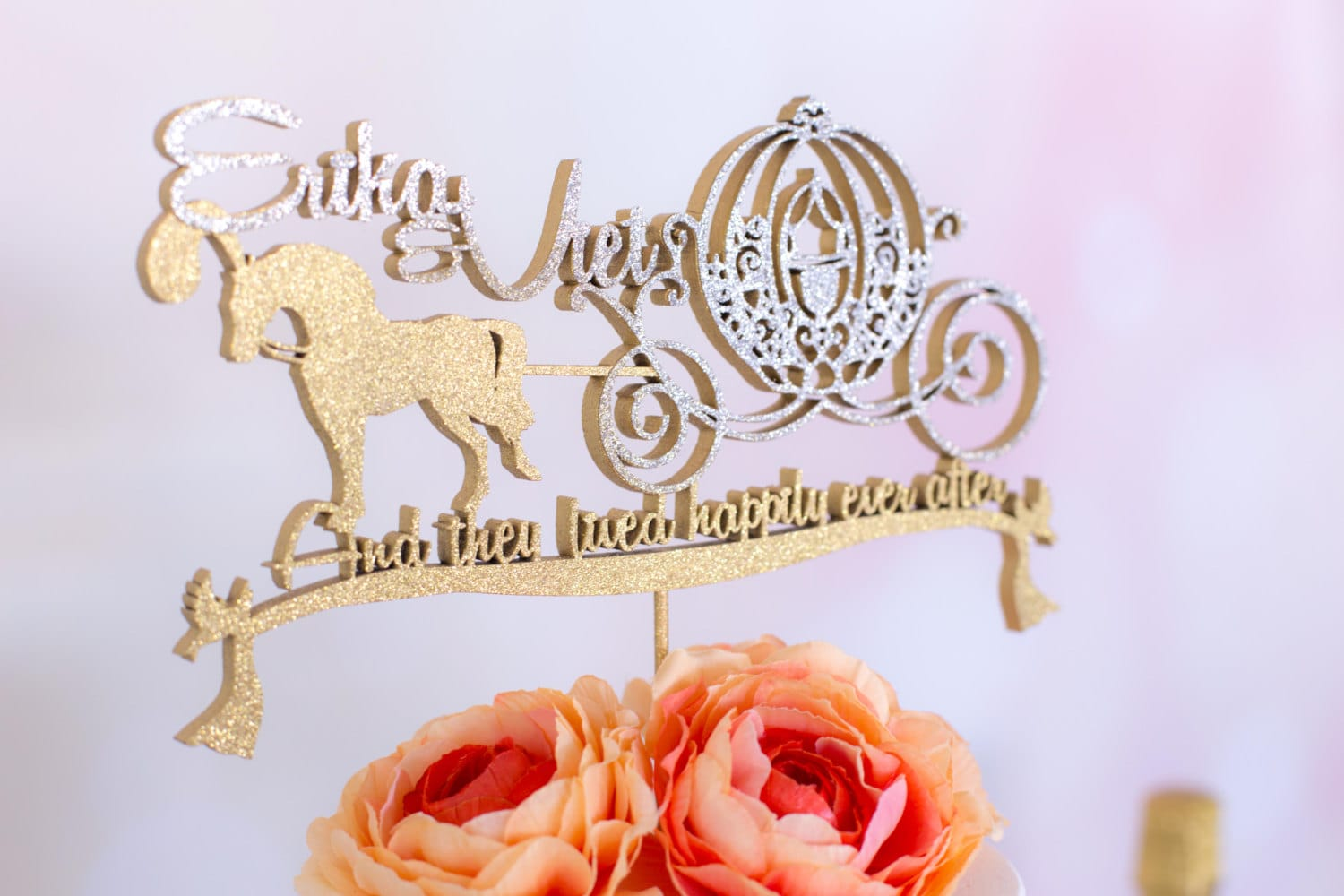 horse and carriage wedding cake topper disney wedding cake topper cinderella amp carriage custom 15313