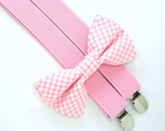 Easter Bow Tie and Suspenders -Pink Gingham Bow Tie and Suspender set for Baby,Toddler and Boys,Children Suspender and bow tie set