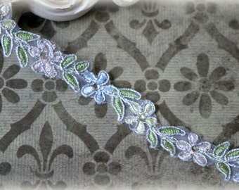 Trim Alencon Floral Lace Trim with Rhinestone Centered Flowers for Bridal, Lace Jewelry, Sashes, Headbands, Crafting LA-156