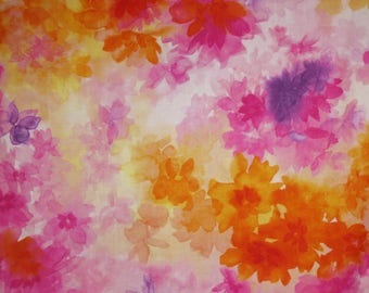 Orange and Pink  Muted Soiree Floral Print Pure Cotton Fabric--By the Yard