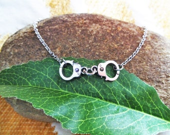 HANDCUFF NECKLACE or BRACELET -  silver tone - choose your chain