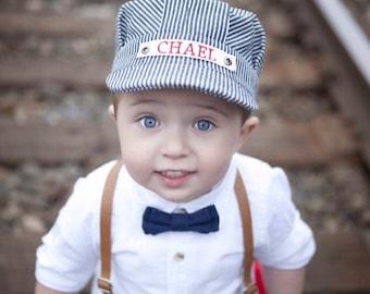 Personalized Train Hat, Engineer Hat, Conductor Hat, Kids Hat, Train Birthday, Train Party, Choo Choo I'm 2, Train Cap, Train Engineer, Boy