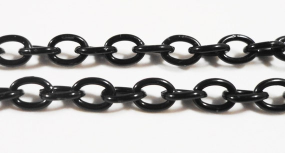 Black Metal Chain 4x3mm Curb Link Chain, Unfinished Iron Chain, Unsoldered Cable Chain, Jewelry Making, Craft Supplies 1 Meter (3 ft)