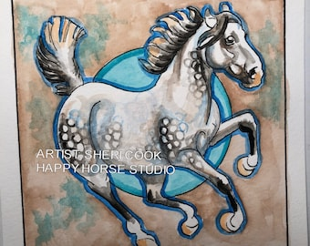 DANCING DAPPLED 02- Watercolor and Ink Dapple Horse Original Watercolor Painting