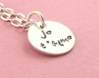 SALE - Je t'aime Necklace - French for I Love You Silver Necklace - Handstamped Silver Necklace - Valentine's Day - Mother's Day Gift