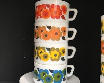 4 Arcopal, France, Lotus, cup & saucers, big size, mid ceintury