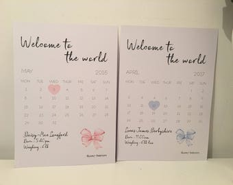Birth calendars in different colours