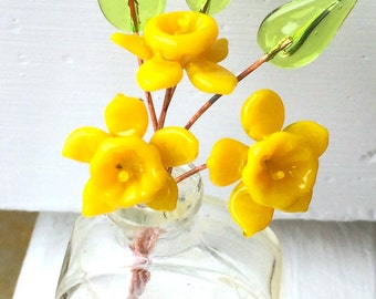 Yellow Daffodil Flower and Light Green Leaf Lampwork Headpins - MTO