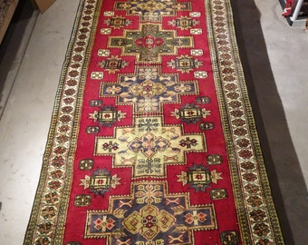 "Vintage Persian Rug Runner 1950's MESHKIN 4' 3"" x 11' 6"" Handmade, Hand-knotted, Natural Dyes, Bohemian, Boho Chic, Made in Iran 965m"