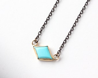 Turquoise Kite Necklace in 14k Yellow Gold and Recycled Oxidized Sterling Silver