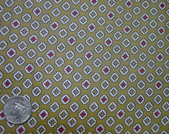 """Vintage Cotton Fabric, Crisp Cocoa Brown with Geometric Print, 35"""" Wide, 1 Yard"""
