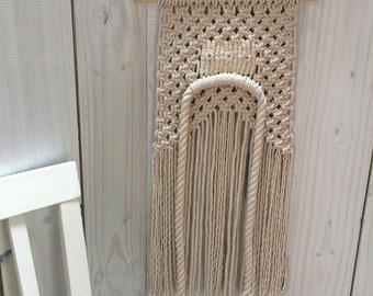 NEW PRICE!! Macramé Wall Hanging with Mother-of-Pearl Buttons, Bohemian Wall Art, Contemporary Macramé Wall Hanging with Thick Rope Accent