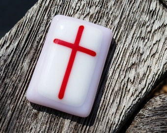 Comfort Pocket Cross Fused Glass - Worry Stone - Charm - Christian Gift - Pink and Red