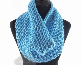 Blue Crochet Scarf, Crochet Cowl, Sky Blue Infinity Scarf, Light Blue Neck Warmer, Handmade Crochet Scarf, Bright Blue Snood Scarf