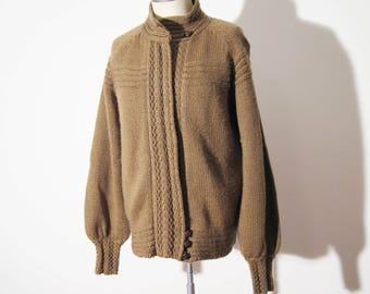 Vtg 80s Chunky MOUSEY Brown Zipper CARDIGAN, Sporty! Medium