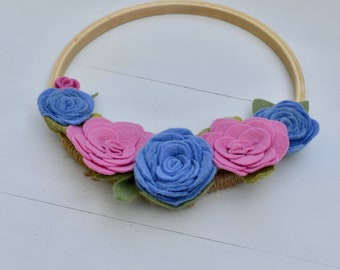 Felt Flower Wreath, Floral Wreath, Pink Felt Flower Wreath, Embroidery Hoop Wreath, Faux Floral Wreath