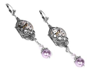 Steampunk Jewelry Steampunk Earrings Silver ART DECO Watch Pink White Pearl Dangle Earrings, Womens Holiday Gift Her - Jewelry by edmdesigns