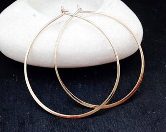 14k Gold Filled Hoop Earrings Hoops Jewellery uk Thin Gold Hoops, Hammered Earrings