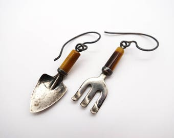 Sterling hand fork & trowel earrings, gardener earrings, garden earrings, tigers eye earrings 925 earrings sterling earrings sterling silver