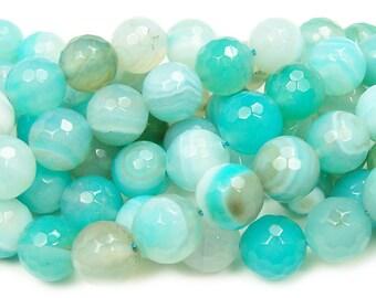 Light Aqua Striped Agate Faceted Gemstone Beads
