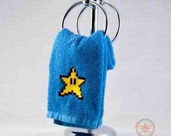 Super Mario Hand Towel - 8 Bit Star - Geeky Embroidered Bathroom Towel or Kitchen Decor