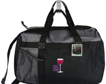 Mommy's Sippy Cup Wine Glass Gemline Sequel Duffel Travel Bag + Name Embroidered Mother's Day Overnight Travel