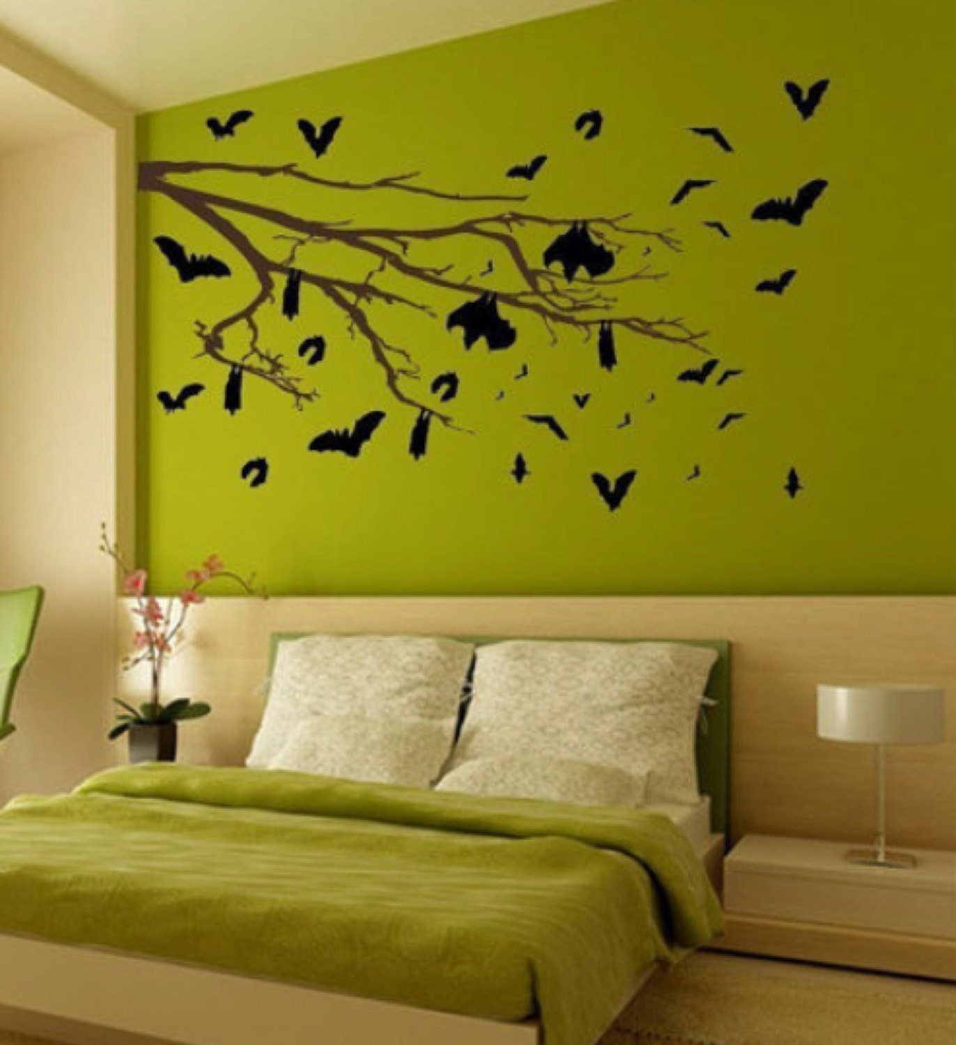 The Bat\'s Tree Vinyl Wall Art-Choose any color