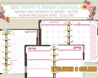 mini happy planner size essentials - weekly and monthly planner