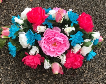 Cemetery Flowers / Saddle for Spring / Daughter's Grave / Headstone Flowers / Grave Flowers for ground or Headstone / Easter Saddle / Monume