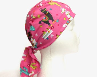 Llama Scrub Hat, Scrub cap, Scrub Caps, Scrub Hats, Scrub hat, Tie Back Hat, Pink, Alpaca scrub hat, llama, Pixie style caps, for women