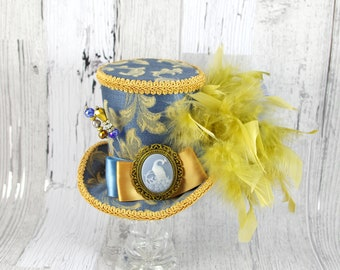 Antique Blue and Gold Peacock Cameo Empress Collection Mini Top Hat Fascinator, Alice in Wonderland, Mad Hatter Tea Party, Derby Hat