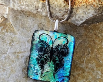 Small Fused Glass Necklace, Fused Glass Butterfly Pendant, Green and Gold Dichroic Fused Glass Pendant, Black Butterfly Necklace