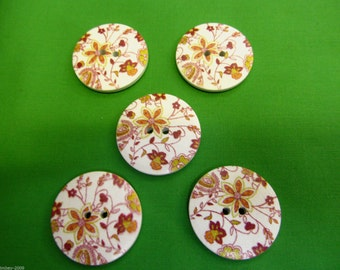 Round 2 Hole Abstract Flower Sewing Buttons Scrapbooking 30 mm- 5 Buttons