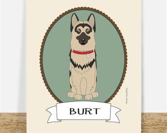 Custom Illustrated Pet Portrait | Dog Illustration 8x10 Printable | Animal Portrait | Gift Idea | Christmas Gift For Pet Lovers