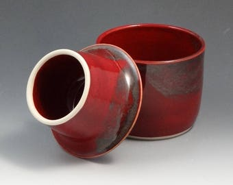 French Butter Crock Dish in Cranberry Red with Gray Accent