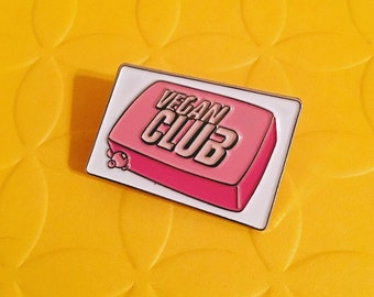 VEGAN CLUB PIN - Reduced Price - Sale - Enamel Pin Lapel Pin Badge - Vegan Fight Club Soap pin