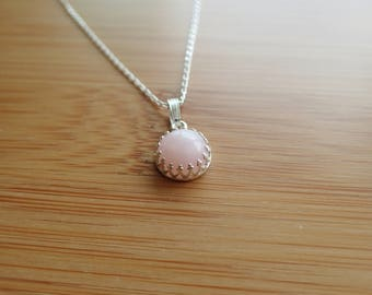 Genuine Pink Opal pendant, sterling silver, October birthstone, Peruvian pink opal necklace, filigree crown setting