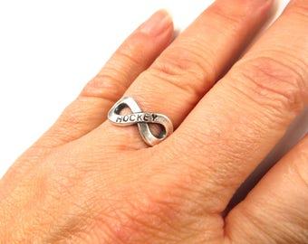Hockey Infinity Ring Hockey Forever Ring Hockey Jewelry For Girls Sterling Silver Ox Finish
