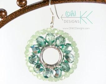 Green brick-stitch beaded hoop earrings