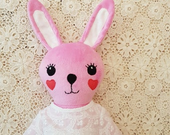Bunny girl doll, pink bunny, easter bunny, bunny girl softie, rabbit softie, bunny cloth doll, handmade bunny doll, girl doll, animal doll