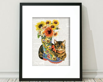 Cat, Cat Print, Print Cat, Rain Boot, Yellow Rain Boot, Vintage Cat, Cat Ephemera, Antique Cat, Cat Art, Brown Kitten, Tabby Cat, Tabby