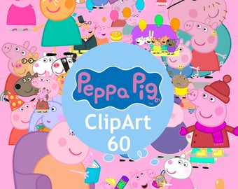 60 Peppa Pig ClipArt - Digital , PNG, image, picture,  oil painting, drawing,llustration, art , birthday,handicraft