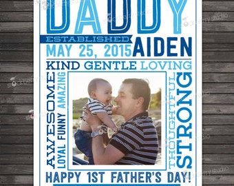 1st Father's Day Gift - Daddy Established - New Dad Gift - Printable Father's Day Wall Art - Personalized Father's Day Gift - Custom Sign