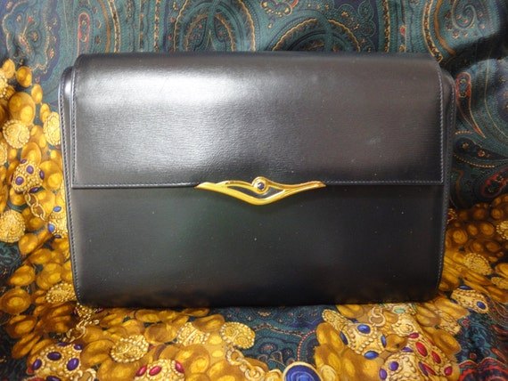 Cartier Vintage Cartier Black Navy Leather Classic Shape Clutch Bag With Blue Stone pcq8mWs