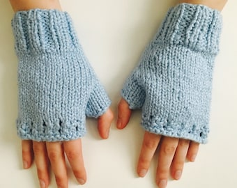 Blue Organic Cotton Wrist Warmers