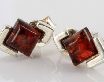 Cognac Baltic Amber Earrings, Sterling Silver Studs, 6mm Stone