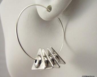 Silver Hoop Earrings, Funky Triangle Earrings, Spiky Earrings, Unique Silver Earrings, Geometric Silver Jewelry, Gift for Women