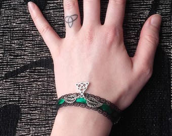 Silvia Unique black lace and green satin bracelet with leaves and celtic knot triquetra charm