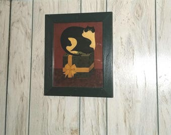 Vintage Warren Kimble framed Cat sitting on a Gift Box Folk Wall decor Art Print