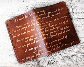 Leather Passport Cover Inspirational Quote in Genuine Leather Travel Gift Benjamin Button Graduation Gift, OOAK F Scott Fitzgerald Quote